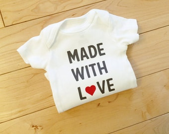 Made with Love Bodysuit / Unisex Baby Clothes / Gender Neutral Baby Clothes / Baby Coming Home / Trendy Cute Baby
