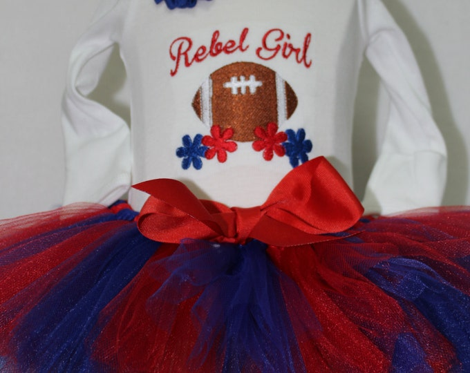 Ole Miss Rebel baby girl outfit, Ole Miss girl bodysuit, Rebel girl bodysuit,Ole Miss girl shirt, Ole Miss  Red and blue tutu,Rebel headband
