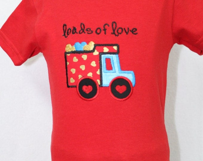 Boy Valentines Day shirt, Personalized boys Valentines Day shirt, Valentines Day Dump truck shirt for boys, Red Valentines Day t shirt,