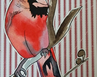 "Illustrated Hand made greeting card ""Cardinal"""