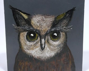 Grey Owl - Original Encaustic Wax Painting