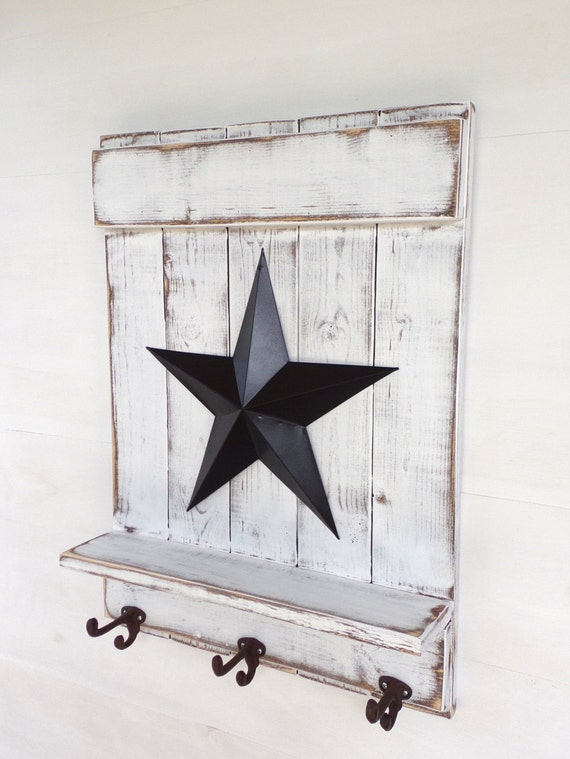 Star Shelf With Hooks Distressed White Wood By