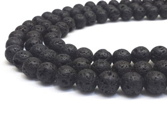 Lava Beads, 8mm Lava Beads, 8mm Beads, 8mm Gemstone Beads, Lava Rock, Natural stone, Mala beads, Black Lava Stone Black Lava Beads 6mm Beads