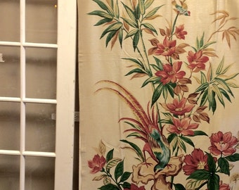 Vintage Barkcloth curtain panels; 2 panels, handprinted, Cohama, vintage, barkcloth, bird, floral, 1940's,