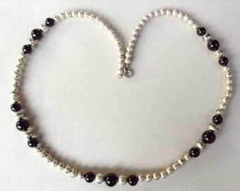 Outstanding Sterling Silver and Onyx Beaded Necklace