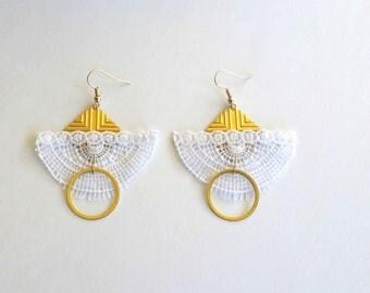 Boho Earrings, Bohemian Earrings, Gold Earrings, Geometric Earrings, Brass Earrings, Lace with gold earrings, Lace with brass earrings