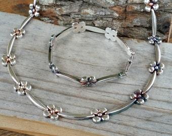 """Necklace bracelet set Sterling silver Milor 925 necklace silver flower 17"""" necklace 7"""" bracelet GB632"""