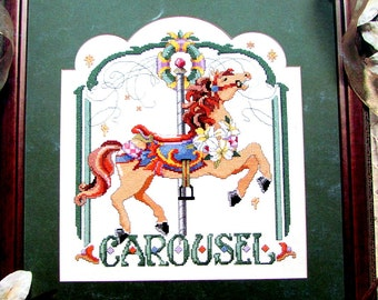 "Cross Stitch Book, By Leisure Arts, Leaflet 2424. ""Fantasy Ride book 2""( 1993) A Vintage  Pattern of a  Carousel Horse.  //On SPECIAL!!"