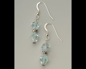 Swarovski Crystal Aquamarine colored Earrings