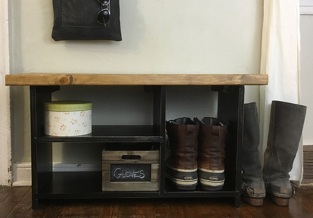 Rustic Entryway Bench With Shelves Solid Wood Entryway Bench Shoe Organizer Wood Bench