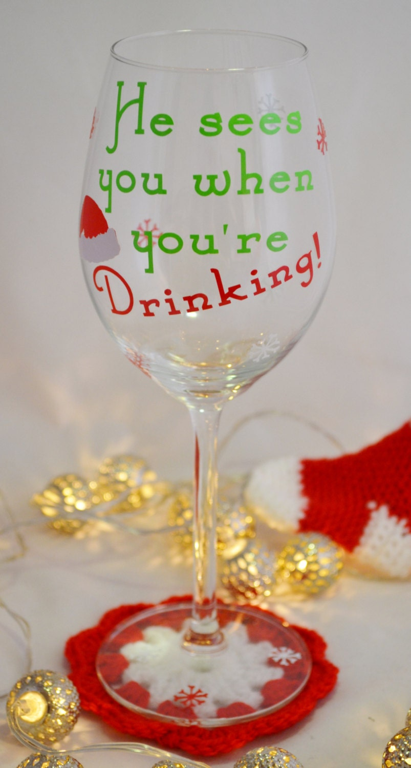 Funny christmas wine glass he sees you when you 39 re - Funny wine glasses uk ...