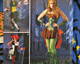 Simplicity 1091 Harley Quinn Super Villainess Costumes Poison Ivy Lady Joker sewing Pattern Sm-M