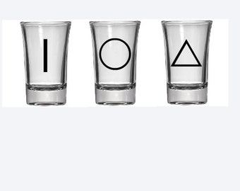 Set of 3 Deathly Hallows shot glass, elder wand, invisability cloak, resurrection stone, harry potter shot glass