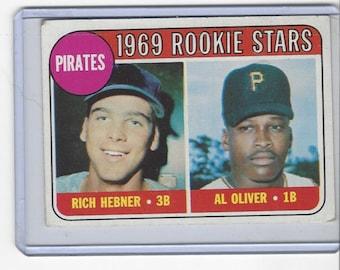 1969 Topps Rich HEBNER and Al OLIVER PIRATES Rookie Stars original vintage baseball card number 82