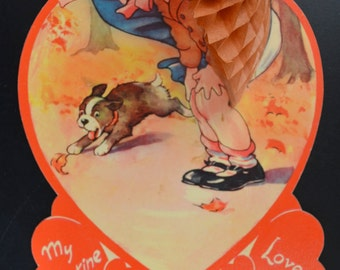 Vintage Valentine Card Honeycomb Puff Foldout Girl with Umbrella 1930s