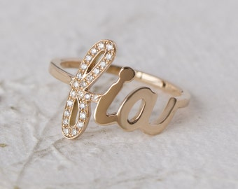 Personalized ring , personalized diamond ring , Customized name ring , diamond name ring , ring with name , gold name ring , name ring