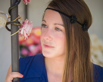Headband small black satin flowers on black tie - cotton base hand made.
