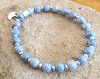 Blue bracelet, Czech glass bead bracelet, Hill Tribe silver bracelet, charm bracelet, moon charm, elastic bracelet, stretch bracelet