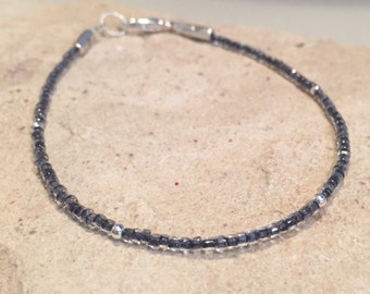 Charcoal gray seed bead bracelet, single strand bracelet, sterling silver bracelet, boho bracelet, small bracelet, gift for her