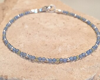 Blue and green bracelet, peridot bracelet, agate bracelet, sterling silver bracelet, Hill Tribe silver bracelet, sundance style bracelet