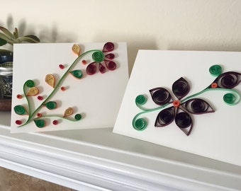 Paper 3D Quilled Blank Card Set of 2
