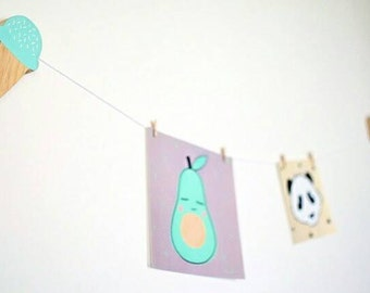 Kids Art Display Clips, Ice-cream Childrens Wall Decor, Art Display Clips, Display String, Nursery Wall Art,
