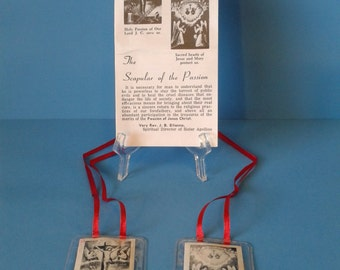 "Catholic Vintage "" Red Scapular "" Devotion for Passion of Christ"
