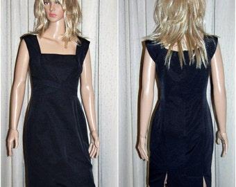 Covers fully lined black designer dress, size 10, vintage 1990s