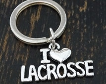 I love Lacrosse Keychain, Custom Keychain, Custom Key Ring, Lacrosse Charm, Lacrosse Pendant, Lacrosse Jewelry, Lacrosse Coach Gifts
