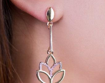 Lotus Flower Jewelry Gold Earring Two-tone Earrings, Flower Earring