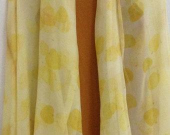 Silk Chiffon Scarf, Yellow Scarf, Eco Print Scarf, Woman Fashion, Women Accessories, Chiffon Scarves, Scarves and Wraps, Handmade Scarf