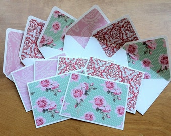Set of 6 Handmade Cards // Handmade Envelopes // Roses and Butterflies // Pink and Teal // Matching Lined Envelopes // Gifts Under 10