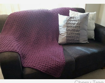 Pure Wool Lounge/Lap Size Throw Blanket (Plum)