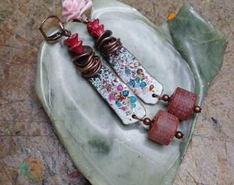 Earrings bohemo/rustic, carnelian beads, copper enamelled, Czech glass and copper metal.