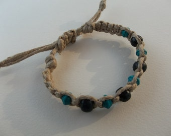 Adjustable Natural HEMP BRACELET Black and Turquoise wood beads - fits men or women