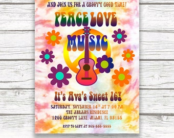 Hippie Tie-Dye Flower Power Sweet 16 Birthday Party Invitation, Woodstock 60s 70s Peace Love Music Invite,  Printed or Printable