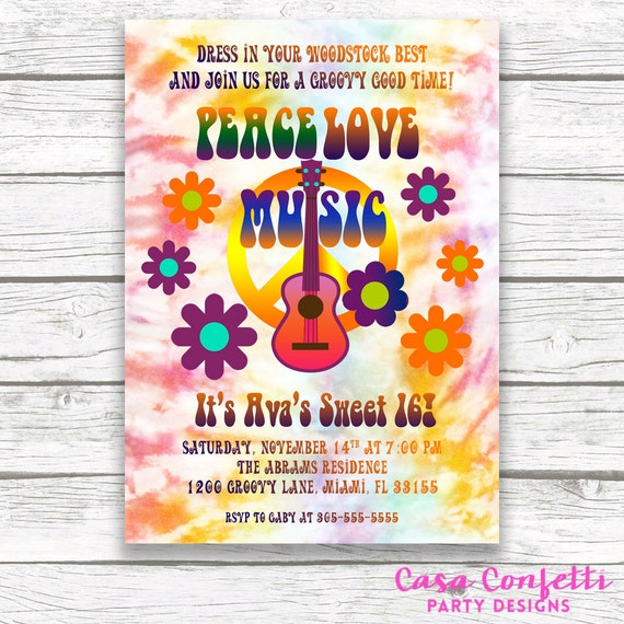 Hippie TieDye Flower Power Sweet 16 Birthday Party Invitation