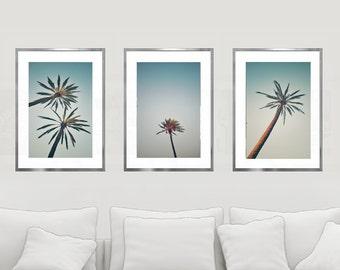 Palm Print Set, Nautical Decor, Set of 3, Palm Tree Photography, Beach Art, Coastal Decor, Vintage Blue, Wall Art, Fine Art, Living Room Art