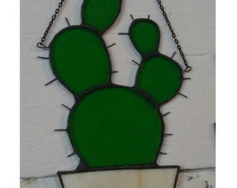 Stained Glass Prickly Pear Cactus Sun Catcher