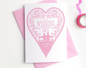 Custom Personalised Wedding Card - Wedding Heart Birds Nature Confetti Rob Ryan Style Papercut Commemorative Customised Greetings Card