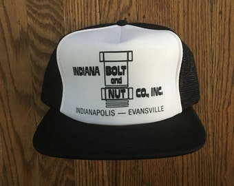 Vintage Bolts & Nuts Indiana Mesh Trucker Hat Snapback Baseball Cap Patch