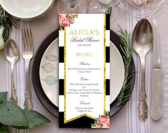 Wedding Menu, Wedding Menu Cards, Menu Cards, Printable Menu, Printable Menu Card, Dinner Menu, Reception Menu, Black & White Menu Cards
