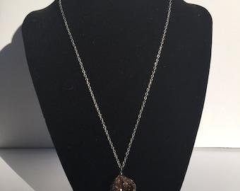 Brown Druzy Necklace - Druzy Necklace - Drusy Necklace