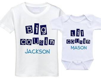 Big Cousin t shirt Big cousin little cousin Onesie Cousin onsie Cousin gift set big cousin onesie big cousin shirts big cousin tshirt
