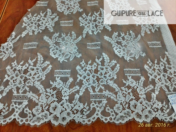 Lace fabric ivory color - French style, Gorgeous chantilly lace fabric from France