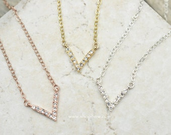 Cubic Zirconia CZ V Necklace, Sterling Silver, Gold, Rose Gold, Delicate Necklace, Layering Necklace, Bridal Necklace, Bridesmaid