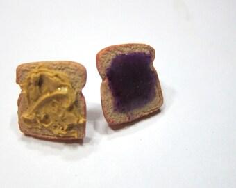 Miniature Food Jewelry Polymer Clay Peanut Butter and Jelly Earrings, Sandwich Earrings, Peanut Butter and Jelly Stud Earrings
