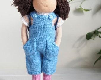 DUNIASHA - waldorf doll handmade, waldorf toy, rag doll, knitted doll, soft doll, gift for girl, kids gift