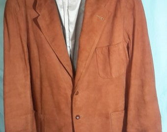 Men's leather aquasuede rust colored lined blazer, size med/large
