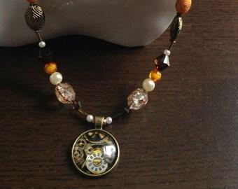 Steampunk  Cabochon Pendant Bead Handmade Necklace